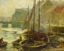 Frederic Stuart Richardson (Staithes Group 1855-1934): Fishing Boats Moored by St. Ann's Staith Whit