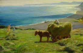 Arthur A Friedenson (Staithes Group 1872-1955): Haymaking above Runswick Bay, oil on canvas signed a