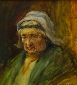 Joseph Richard Bagshawe (Staithes Group 1870-1909): Portrait of an Old Lady, watercolour signed 23cm
