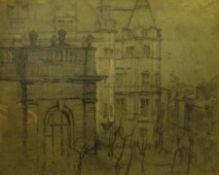 Sir Frank Brangwyn RA, RWS, RBA (British 1867-1956): City Buildings, pencil signed with initials 38c