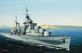 Ivan Berryman (British 1958-): Naval Ship's Portrait of a Dido-Class Cruiser, oil on canvas signed 3
