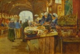 Henry Silkstone Hopwood (Staithes Group 1860-1914): 'Old Market Dieppe', watercolour signed and date