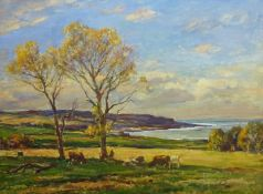 Owen Bowen (Staithes Group 1873-1967): Cattle Grazing on the Banks of the Solway Firth, oil on canva