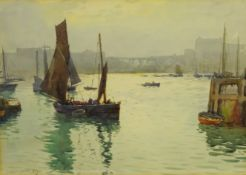 Ernest Dade (Staithes Group 1868-1934): Fishing Boats outside Scarborough Harbour, watercolour signe