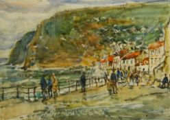 Rowland Henry Hill (Staithes Group 1873-1952): Busy Day Staithes, watercolour signed and dated 1943,
