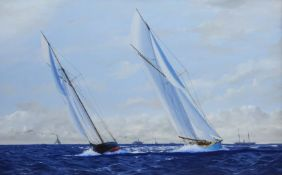 James Miller (British 1962-): America's Cup Series the 8th Challenge 1893 'Valkyrie II' & 'Vigilant'