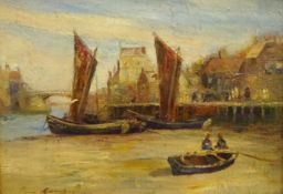 Horace Middleton (British exh.1902-1919): 'Whitby Harbour at Low Tide', oil on board signed,