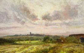 John Falconar Slater (British 1857-1937): Haytime looking towards Earsdon Church Northumberland, oil