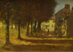 Mark Senior (Staithes Group 1862-1927): Sunlight through the Trees in the Village Square, pastel sig