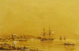 Attrib. Ivan Konstantinovich Aivazovsky (Russian 1817-1900): Shipping off the Coast, sepia wash heig