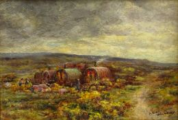 James Ulric Walmsley (British 1860-1954): Gypsy Caravans on the Yorkshire Moors, oil on board signed