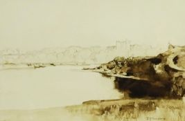 Sir David Young Cameron RA (Scottish 1865-1945): Castle and Loch, pencil and sepia wash signed 23cm