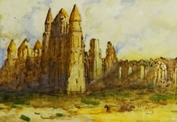 James William Booth (Staithes Group 1867-1953): Whitby Abbey, watercolour signed 25cm x 36.5cm