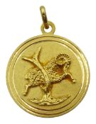 18ct gold Aries pendant stamped 750, approx 9.75gm