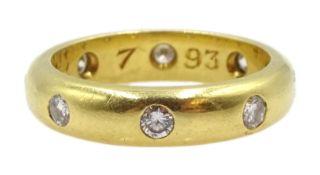 18ct gold diamond full eternity ring rubover set, London 1993