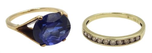 Gold diamond half eternity ring and a gold oval synthetic sapphire ring, both 9ct tested or hallmark