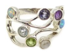 Silver multi-gem set ring, including amethyst, peridot, opal and moonstone, stamped 925