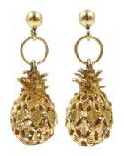 Pair of 14ct gold pineapple pendant earrings