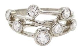 Silver multi cubic zirconia set ring
