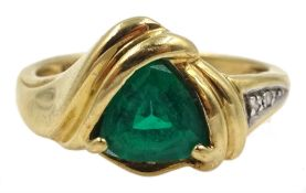 Gold green stone set ring, with diamond set shoulder, stamped 10K