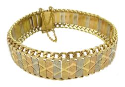 18ct white, rose and yellow gold link bracelet, approx 34.3gm