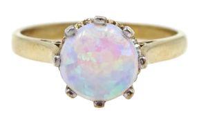 9ct gold single stone opal ring, hallmarked