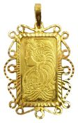 Suisse 5g Fine gold 999.9 Lady Fortuna ingot, loose mounted in 22ct gold open work pendant