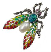 Silver plique-a- jour, pearl, opal and marcasite bug brooch, stamped 925
