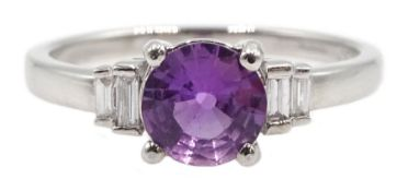18ct white gold fancy purple sapphire ring, with baguette diamond shoulders, hallmarked