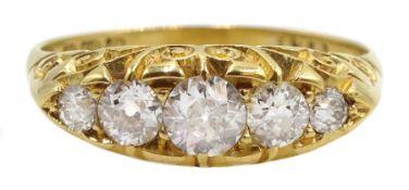 18ct gold graduating five stone diamond ring, hallmarked
