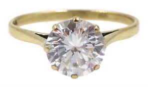 9ct gold single stone cubic zirconia ring, hallmarked