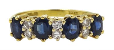 18ct gold four stone oval sapphire and six stone diamond ring, London 1981