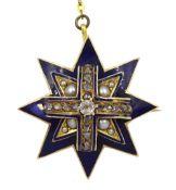 Victorian 15ct gold blue enamel, diamond and split pearl star brooch