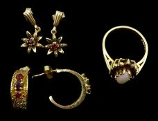 Gold opal and garnet ring, pair of gold garnet hoop earrings and pair of pendant earrings, all 9ct t