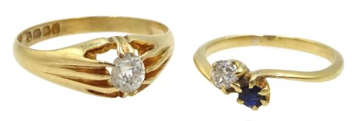 Early 20th century 18ct gold single stone diamond ring, London 1913, diamond approx 0.25 carat and a