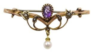 Edwardian gold amethyst, seed pearl and pearl brooch, stamped 9ct