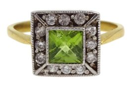 Silver-gilt peridot and cubic zirconia ring, stamped sil
