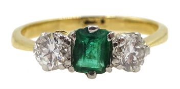 18ct gold emerald and round brilliant cut diamond ring, total diamond approx 0.40 carat