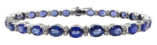 18ct white gold oval sapphire and diamond bracelet, stamped 750, total sapphire weight approx 12.00
