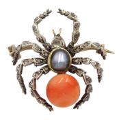 Victorian gold and silver spider brooch, set with diamonds, coral and a grey split pearl