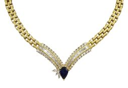 18ct gold diamond and sapphire necklace, brick link design leading to diamond V design, consisting o