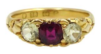 Victorian 18ct gold three stone cushion cut ruby and round chrysoberyl ring, hallmarked