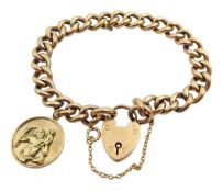 9ct gold curb link bracelet, with heart locket and 9ct gold St Christopher charm, hallmarked, approx