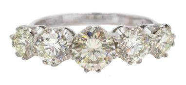 18ct white gold five stone graduating, round brilliant cut diamond ring, hallmarked, total diamond w