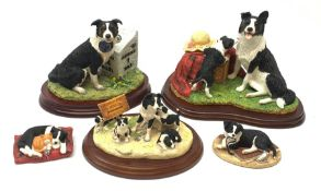 A group of Border Fine Arts figures, comprising Walkies, model no B0860, with box, Families Welcome,