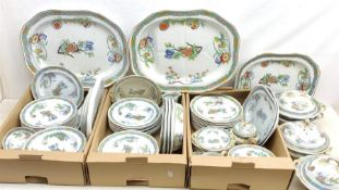 A matched Copeland Spode dinner service, decorated in a chinoiserie style pattern, to include eighte