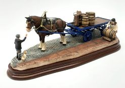 A limited edition Border Fine Arts figure group, Guinness Dray, 271/1250, upon wooden base, figure L