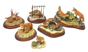 A group of six Border fine arts figures, comprising limited edition Urban Fox, model no B1067, 21/25