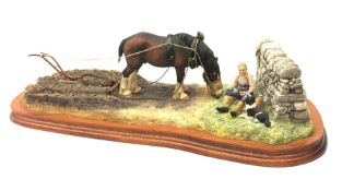 A Border Fine Arts figure group, Ploughman's Lunch, by Anne Wall, 687/1750, on wooden base, figure L