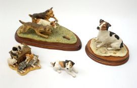 Three Border Fine Arts figures, comprising Terrier Race, model no B0242, on wooden base, Jack Russel